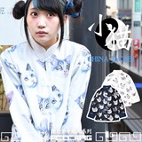 CAT チャイナジャケット 猫 ねこ チャイナ服 中華  原宿系 青文字系 白 ACDCRAG
