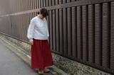 【2017定番人気商品】日本製 東炊きリネンタックギャザースカート №6391