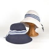 【春夏新作】ボーダーリボンツバ広キャペリン レディース帽子