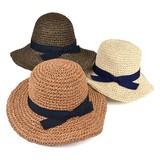 【春夏新作】ミックスコマ編みペーパーキャペリン レディース帽子