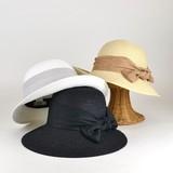 【春夏新作】ヘンプ風リボンペーパーキャペリン レディース帽子