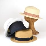 【春夏新作】小ツバリボンペーパーカンカン帽 レディース帽子
