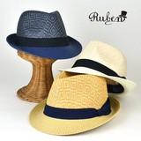 【春夏新作】Ruben幾何学柄2トーンペーパー中折 ヤング帽子
