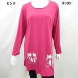 【春物新商品】スソネコストーン付きビックTシャツ