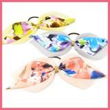 Gift Show Colorful Print Chiffon Layard Ribbon Hair Elastic