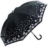 ●UVカット率99%●晴雨兼用ネコ&葉っぱ