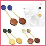 Gift Show Marble Circle Wood Circle Beads Pierced Earring