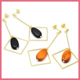 Gift Show Square Frame Oval Wood Pierced Earring