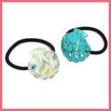 Gift Show Bright Stone Attached Shell Motif Marine Hair Elastic