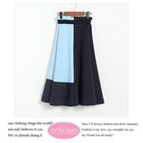 【2017SS新作】】中空素材 切り替えデザインスカート