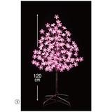 【春装飾品】LEDピンクフラワー立ち木ライト