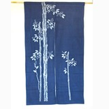 <和雑貨・和土産>綿素材 藍染風のれん 竹 紺/ネイビー (商品コード:303-246)