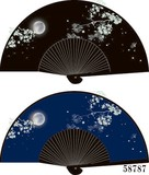 風流で粋な扇子 23cm【月見夜桜】