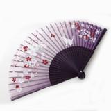 <ファッション雑貨><和雑貨・和土産>高級シルク扇子 さくら・ねこ 紫 (商品コード:504-338)