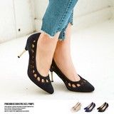 2017 S/S Punching Design Heel Pumps Shoes Ladies