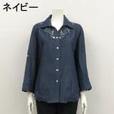 【2017春新作】【LL】デニム綿100%レース使いシャツジャケット(袖ロールアップ) 60629