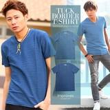 【IMP】インディゴ染め半袖タックボーダーTシャツ