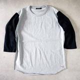【予約販売】(4月納品)【2017春夏新作】バイカラー袖切替え7分袖Tシャツ M-1701154<日本製>