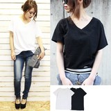 【VネックゆったりTシャツ トップス/半袖/Tシャツ/ゆったりサイズ/ベーシック】