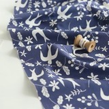 【生地】【布】【コットン】Shine bird - lapis lazuli デザインファブリック