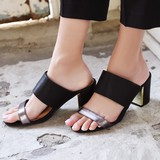 ◆メタリックミュールサンダル/フェイクレザー/靴/くつ/SHOES◆424588