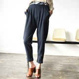 ponte fabric Material Tapered Pants Bottom Gather