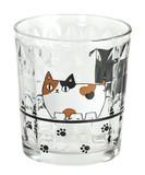 新作■ガラス単品◇猫3兄弟ロックグラス 行進