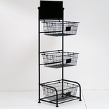Storage Wire Rack Stand 3 Steps Basket Storage