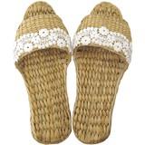 【Summer slippers】お花レースガマスリッパ