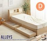 【直送可】(ダブル)Alloys(アロイス)引出し付ベッド【送料無料】