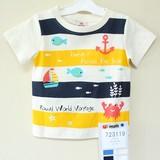 2017 Summer Short Sleeve T-shirt Border Marine