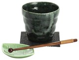 ■美濃焼ギフト 緑釉ロックカップセット(黒コースター)