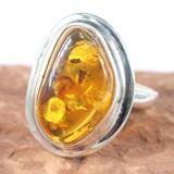ポーランド産 天然琥珀 ナチュラルアンバー リング 指輪 19号