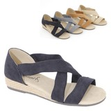 S/S Sandal Popular Suede Closs Belt Wedged Puffy