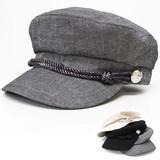 帽子 キャスケット レディース 麻綿 春夏 ロープ&銀ボタン マリンキャスケット