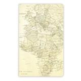 世界地図柄ノート(レトロ)A5スリム5mm方眼/地図