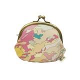 地質図テキスタイル がま口財布 PINK/地図