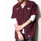 【予約販売】(4月納品)【2017SS新作】刺繍入り ボウリング 半袖シャツ