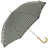 《17SS新作》【晴雨兼用傘】【UV】長傘 遮光ストライプフリル