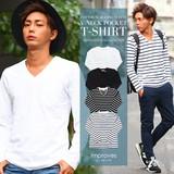 【IMP】コットンスラブ長袖VネックポケットTシャツ