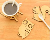 【可愛い風登場!】コースター 木製 可愛い形 (=ΦエΦ=) 猫 鹿 フクロウ