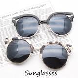 【サングラス 変形フレーム/UVカット/キャッツフレーム/メタルサングラス/大理石柄/眼鏡】