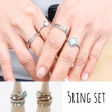 【5点セットリング 指輪/リング/大理石調/ターコイズ調/アンティーク調/アクセサリー/小物】