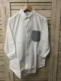 【2017年SS新作】綿パナマ ポケット鹿の子ボーダー BDシャツ