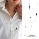 Tortoiseshell Design Long Necklace Natural stone