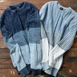 【2017SS新作】 メンズ 編み切り替え インディゴ ニット / ケーブル セーター 長袖 フィッシャーマン 春