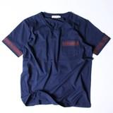 【2017SS新作】エスニック刺繍 ポケット付Vネック半袖Tシャツ