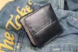 【RED CROW】 最高級のスネークスキン(本蛇革)ショートウォレット  ブラック / メンズ 蛇革 財布