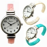 Color Plastic Bangle Watch Ladies Wrist Watch