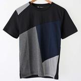 【2017春夏新作】切替え クルーネック 半袖 Tシャツ